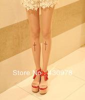 ZH059 Free Shipping 1pair Cross Religon Blessing Tatto  Pattern women's sexy tights ultra-thin silk pantyhose