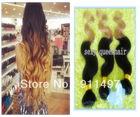 "2013 New arrival Ombre color 2tone color Body wave #1b#27 100% Peruvian Remy hair weft 16""-28"" DHL Free shipping in stock"