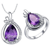 Free Shipping, Stone sets, Western Style Plating 18K gold Pendant, Ring and Earrings, Jewelry Sets Silver 925 XMT421