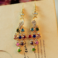 Min.order is $10 (mix order)Free shipping elegant retro national wind Jewelry Rhinestone peacock earrings/Animal Drop  earrings