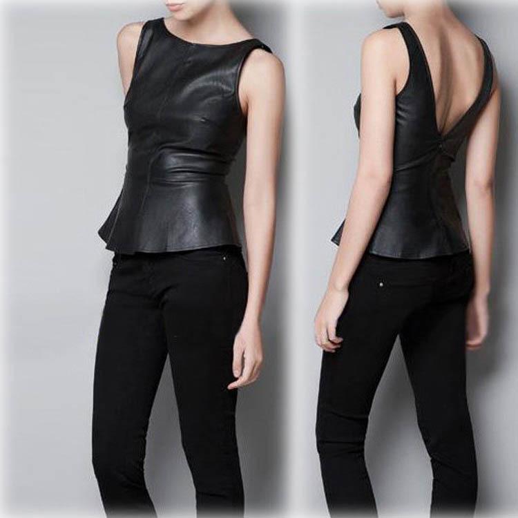 Новый женский мода глубокий V холтер Flouncing рукавов кожаный жилет круглый качели размер S M L