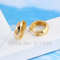 Wholesale 6pcs/lots Charms 18K Yellow Gold Filled Women GF Small Hoop Earrings Huggie Lady Smooth GF Fashion Jewelry