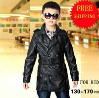 Boy Leather Coat 13-17 yrs Kid Big Boy's PU Leather Outwear Overcoat Korean Style Wind-breaker Boy Child's PU Dust Coat