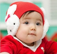 High elastic , lint-free double- double rabbit children hat
