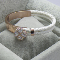 Wholesale FF 18k Rose gold with leather bracelet bangle in white, lucky four leaf with crystal for woman -Free shipping