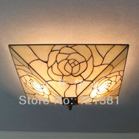 Mission Style Tiffany Rose Ceiling Lamp Stained Glass Lampshade Handcrafted Unique Design Lighting Fixtures 40CM Wide Bedroom