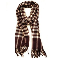 Free Shipping 2013 Womens Mens Classic Fashion Warm Long Cotton Brown & White Winter Autumn Tassels Grid Plaid Scarf Wholesale