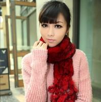 Women winter 100% real rabbit fur scarves, girls genuine fur shawl muffler scarf wraps, neck warmer