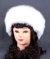 women real fox fur white round winter thicken ear warmer female princess russian ushanka fur skullies & beanies, mongolia cap