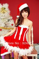 new arrivel sexy 2014 Christmas ball gown costume Santa Claus Performance women clothing sets nightclub stage Uniform temptation
