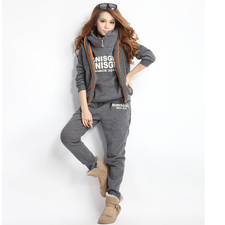 Womens Fashion Trends New Elegant Sports Hoodies Coat+Vest+Pants 3pcs Sweat Suit Tracksuit 53314(China (Mainland))