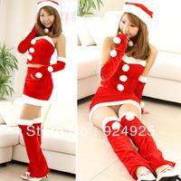 Sexy girl 2014 Christmas dress ball gown costume Santa Claus Performance clothing 7pcs/set  nightclub stage Uniform temptation