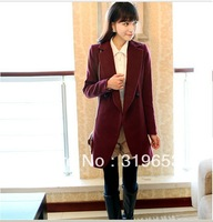 Free Shipping, 2013 Autumn And Winter Women Fashion Turn-down Collar Solid Coat Ladies Double Breasted Outwear Jacket, #7064
