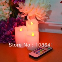Free shipping Rose LED light changing color LED candle top deal for christmas day Christmas decoration,Led Candle light