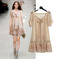 2013 new European and American star of the same paragraph was thin big yards embroidery nude color chiffon dress