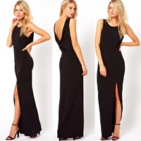 Haoduoyi New 2013 Fashion Women's Sexy Black Open Back Floor-Length Chiffon Prom Maxi Dress With High Split Big Size