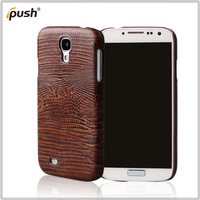 Free Shipping Luxurious Lizard Line PU Leather With Hard Case Plastic PC Cell Phone Case For Samsung i9500 Galaxy S4