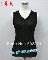 2013 beaded lace spaghetti strap basic shirt female plus size plus size clothing paillette female small vest