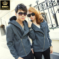 Male women's 2013 lovers autumn and winter plus velvet hoody sweatshirt oblique zipper cardigan class service