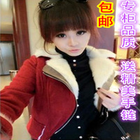 2013 fashion plus velvet turn-down collar oblique zipper motorcycle paragraph woolen short jacket women