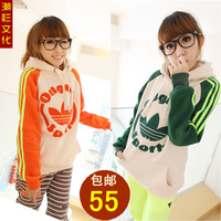 Autumn loose fleece thickening with a hood pullover sweatshirt spring and autumn Women top