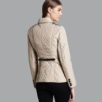 FreeShipping women High quality Coat vintage gold buckle epaulette pocket o-neck slim thin wadded jacket cotton-padded Overcoats