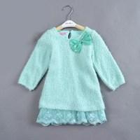 5pcs/lot suit for 2-6 years autumn winter girls' dresses princess dress children's dress blue color