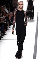 2014 New Arrival Elie Saab Dress Chiffon and Lace Long Sleeve Floor Length elie saab Black Evening Dress Gown