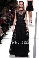2014 New Arrival Elie Saab Dress Black Lace Beautiful Design Floor Length elie saab Evening Dress Gown
