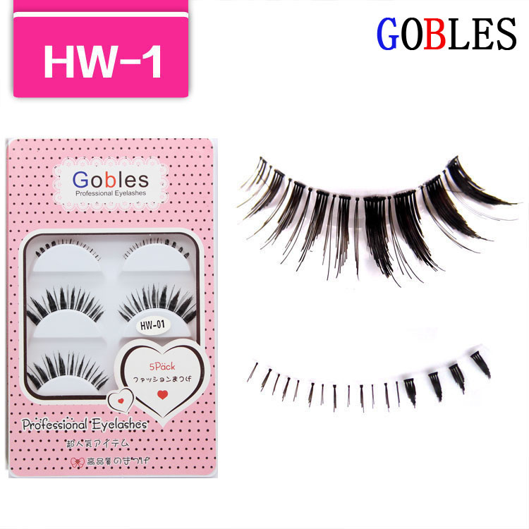 Free shipping--make up accessories fake/false eyelashes hand made eyelash mixed packaging box HW-1(China (Mainland))