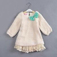 5pcs/lot suit for 2-6 years autumn winter girls' dresses princess new year's dress flower dress girl dress brand
