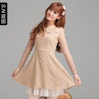 2013 autumn peter pan collar lace patchwork polka dot slim long-sleeve dress 1630