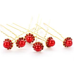 Colour bride white red single bead classical hair stick accessories hair maker child wedding hair accessory