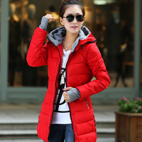 2014 autumn and winter thickening outerwear slim cotton-padded jacket women's medium-long wadded jacket women's cotton-padded