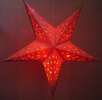 Giant White Star Hanging Party or Bedroom Lantern Red LED Lights 60cm High 24""