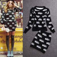 2013 autumn women's fashion knitted car print top short skirt fashionable casual set