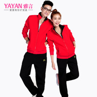 Lovers 2013 autumn long-sleeve sports lovers casual sweatshirt outerwear set stand collar class service