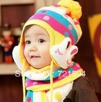 2013 NEW Warm Baby Lovely Rabbit Hat /Kid's Ear Pretect Animal Hat Children Cap For Winter