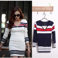 2013  all-match design slim long-sleeve women sweater basic shirt fashion V-neck knitted sweaters long dress