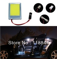 Free Shipping Wholesale White 8W COB Chip LED Car Interior Light T10 Festoon Dome Adapter 12V, Car Vehicle LED Panel