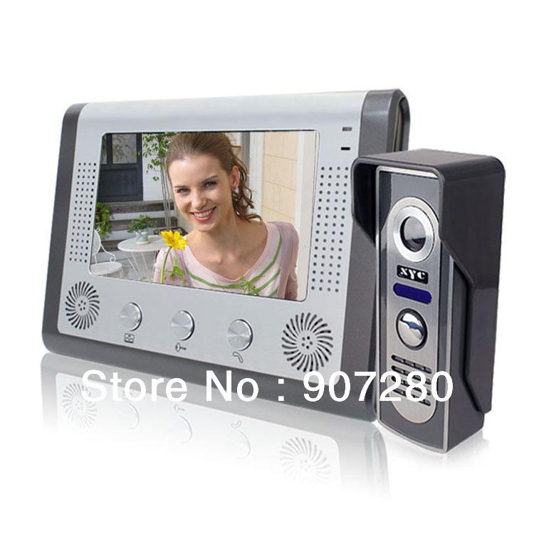 Un à un 7 pouces écran couleur tft wired vidéophone, porte interphone vidéo