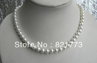 """8mm round natural mother of pearl necklace 17"""""""