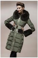 2013 Royalcat high quality luxurious Italy down coat female rose fashion slim down garment fox fur rex rabbit cuffs