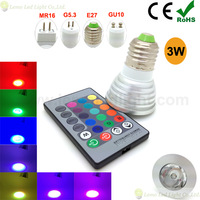 5pcs/lot 3W E27 RGB Led ,E27 GU10 G5.3 MR16 Spotlight RGB Led with IR Remote,LED RGB Scheinwerfer