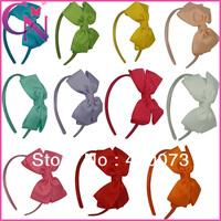 30 Pcs/Lot Solid Hair Bow Hairband For Girl Handmade Hair Bow Headband For Kids Grosgrain Hair Bow Hair Band For KidCNHB-1307282