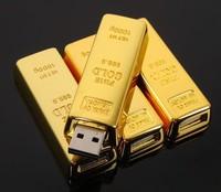 hot  Wholesale 1GB 2GB 4GB 8GB 16GB 32GB  Gold bar USB 2.0 Flash Memory Drive Drives Sticks Disks Pendrives 1pcs/lot