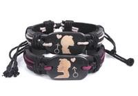 European & American Popular Cow Leather Ox Bone Lovers Couples Bracelet 2 pieces/set  Free shipping HeHuanSLQ211