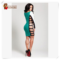 New Arrival sexy  party dress !Ladies Long Sleeve Hollow out Slim Bodycon Clubwear Dresses for ladies