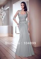 HOT SALENew A-line prom evening mother of the bride dresses chiffon free bolero size 6-14+++