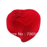 Velvet Ring Box, heart shape, wedding design, Velveteen Rings Jewelry Display Box, 6*6*3.5cm, sold by lot(10pcs/lot)